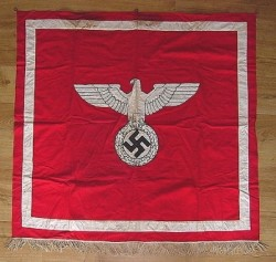 Nazi Eagle/Swastika NSDAP Podium Banner with Rings...$395 SOLD