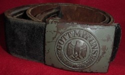 Nazi Army EM Belt Buckle with Black Leather Belt...$125 SOLD