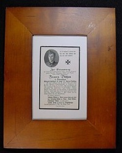 Nazi SS Polizei-Division Death Card in Frame...$35 SOLD