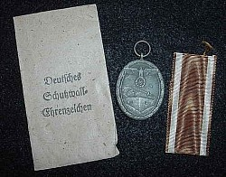Nazi Westwall Medal with Ribbon and Issue Envelope...$85 SOLD