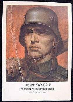 "Nazi Occupied Poland ""Heroic Soldier"" Postcard...$15 SOLD"