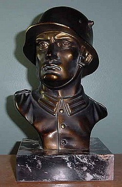 "Nazi Heroic Soldier Bust on Marble Base by ""HB""...$225 SOLD"