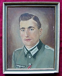 "Nazi-era Oil Painting of Heer Infantry Officer Dated ""41""...$110 SOLD"