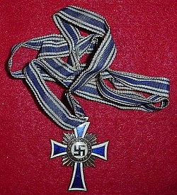 Original Nazi Mother's Cross in Bronze with Neck Ribbon...$50 SOLD