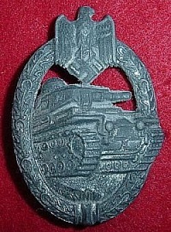 Nazi Silver Panzer Assault Badge...$140 SOLD