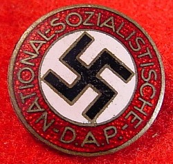 "Nazi Enameled NSDAP Party Pin Badge Marked ""RZM M1/127""...$80 SOLD"