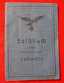 "Nazi Luftwaffe ""Flieger"" Soldbuch with Photo...$125 SOLD"