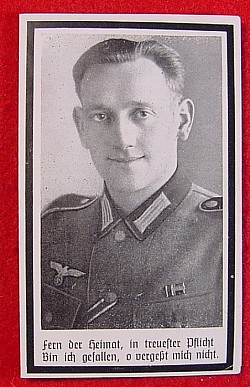 WWII German Death Card for an MG Komp. Unteroffizier...$15 SOLD