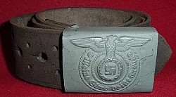 "Nazi SS EM Belt Buckle Marked ""RZM M155/43 SS"" with Belt...$650 SOLD"