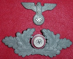 Nazi Political Leader's Visor Hat Eagle and Cockade Set...$80 SOLD