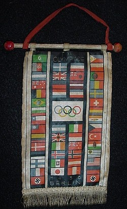Nazi 1936 Berlin Olympics Table Banner with Wood Staff...$115 SOLD