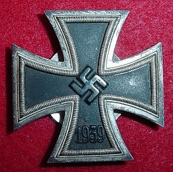 "Nazi Iron Cross 1st Class Marked ""L/18"" with Screwback Device...$285 SOLD"