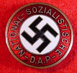 Nazi NSDAP Party Badge marked RZM M1/72 with Buttonhole Device...$110 SOLD