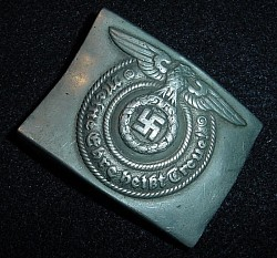Nazi SS EM Belt Buckle with Full Overhoff & Cie Maker's Marking...$595 SOLD